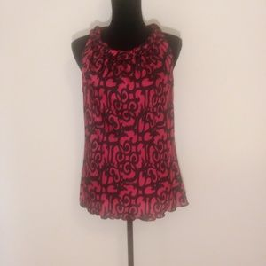 Signature Larry Levine Womens Top Red Black Size S